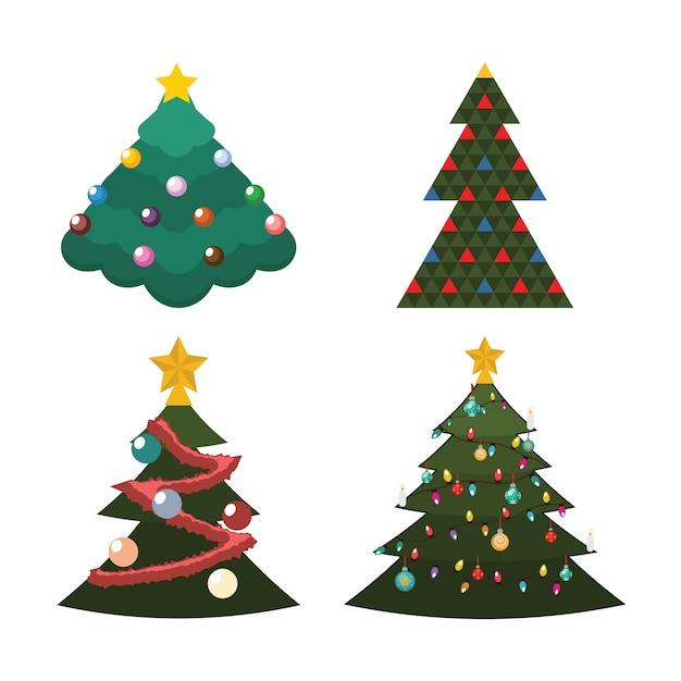 4種類のクリスマスツリーのイラスト Premiumベクター