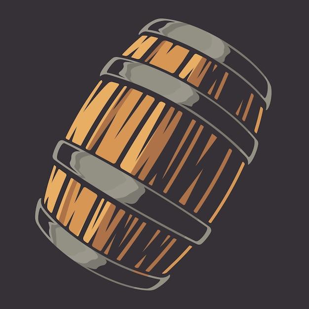 白い背景の上のビールの樽のイラスト。 Premiumベクター