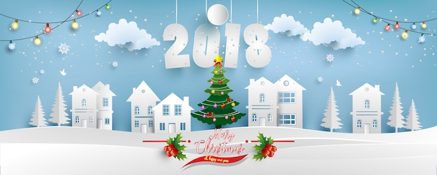 illustration of a beautiful house in winter happy christmas day and new year 2018 - Christmas Day 2018