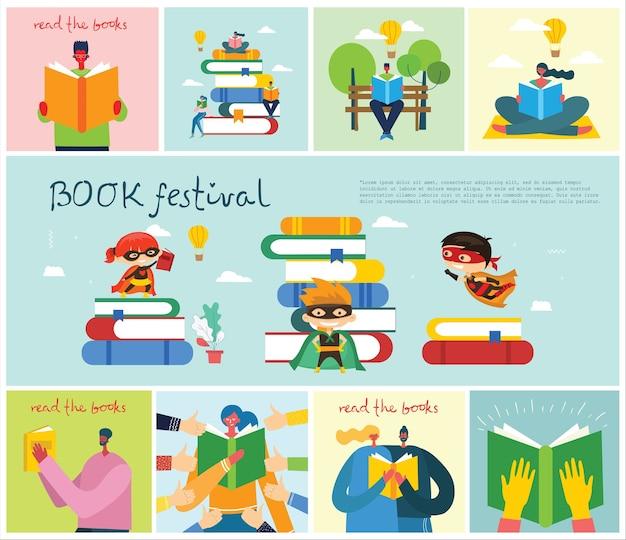 Иллюстрация мальчика и девочки, читающих книгу Premium векторы