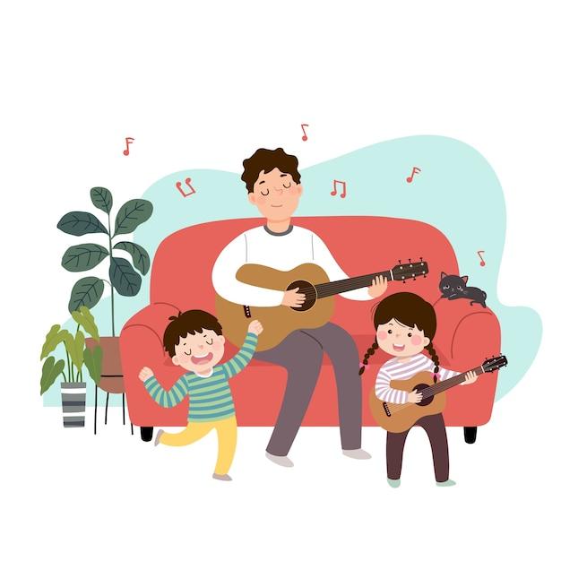 ギターを弾くと彼の子供たちと自宅で歌う漫画父のイラスト。家のコンセプトで時間を楽しんでいる家族。 Premiumベクター