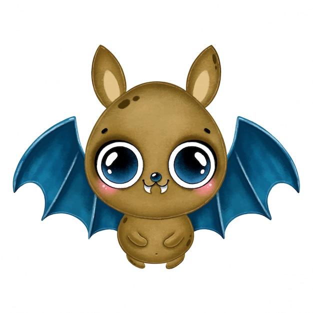 파란 날개를 가진 귀여운 만화 갈색 박쥐의 그림. 할로윈 박쥐 절연 프리미엄 벡터