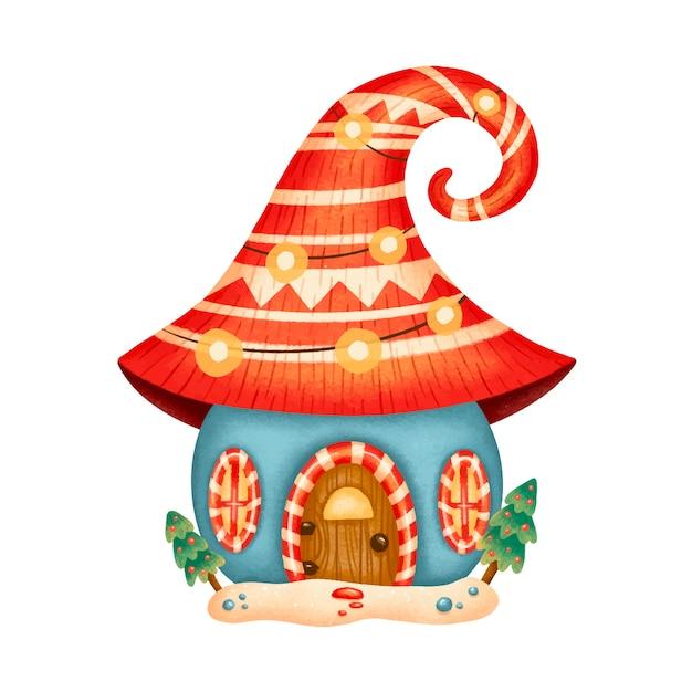 Иллюстрация милый мультяшный рождественский дом гнома Premium векторы