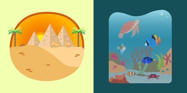 砂漠と海の風景のイラスト Premiumベクター