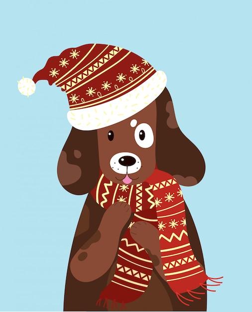 Иллюстрация собаки в шляпе и шарфе. стилизованная счастливая собака зимой. Premium векторы