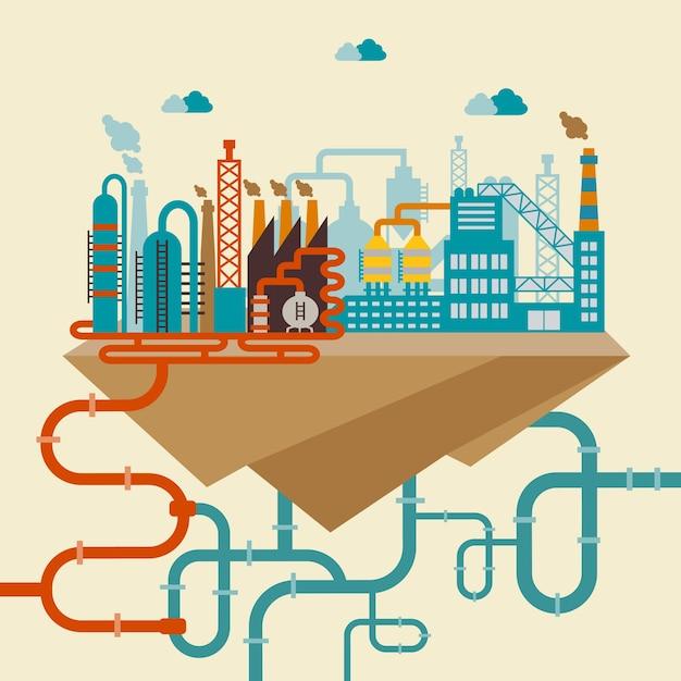 Иллюстрация завода по производству продукции или нефтеперерабатывающего завода Бесплатные векторы