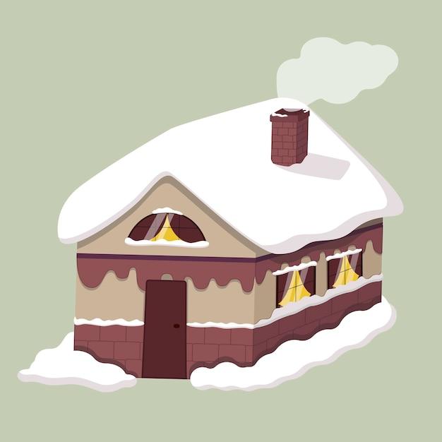 동화 나무 집의 그림입니다. 겨울, 창문과 지붕에서 표류합니다. 프리미엄 벡터