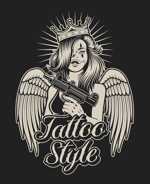 タトゥーチカーノスタイルで銃を持つ女の子のイラスト。シャツのプリントや他の多くの用途に最適です。 Premiumベクター