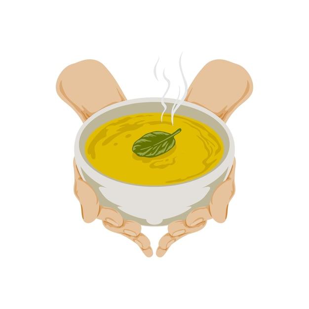 スープのボウルを持つ手のイラスト Premiumベクター
