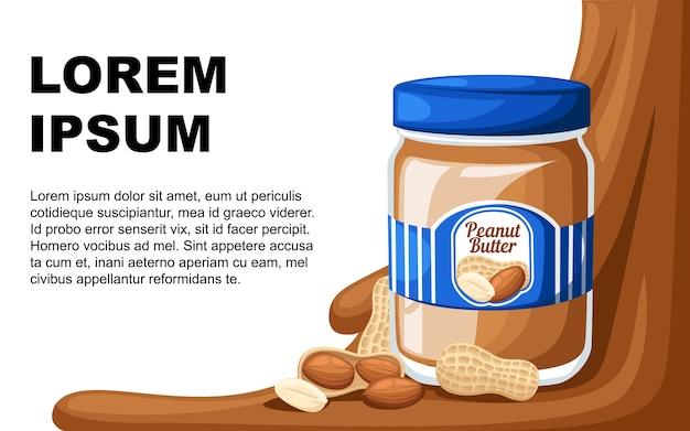 Иллюстрация банку арахисового масла, хлеба с маслом Premium векторы