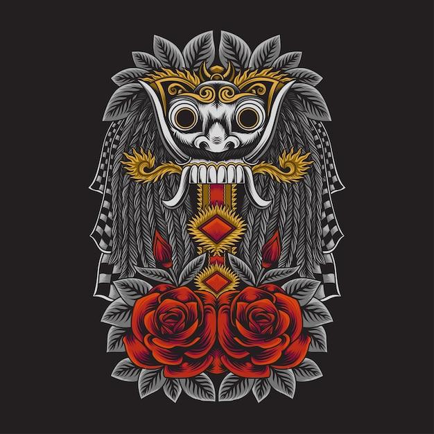 マスクランダインドネシアバリ文化のイラスト Premiumベクター