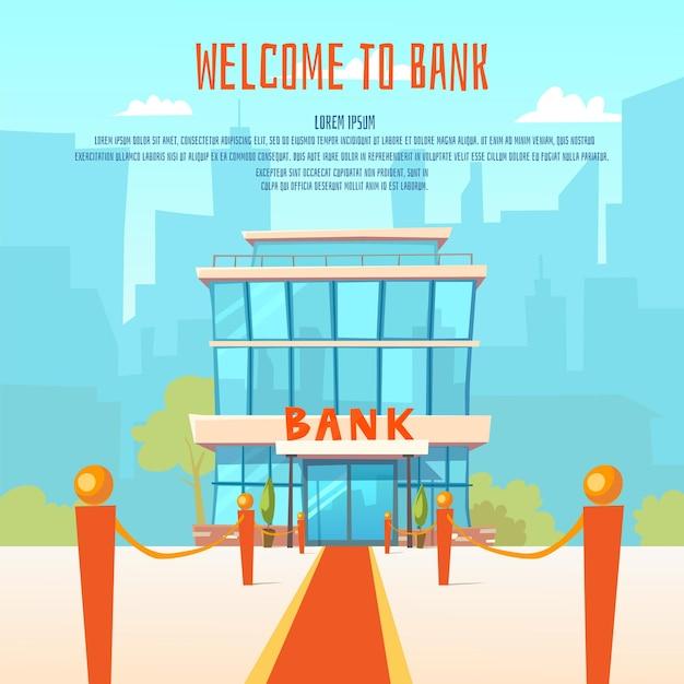 現代の銀行と街の建物のイラスト Premiumベクター