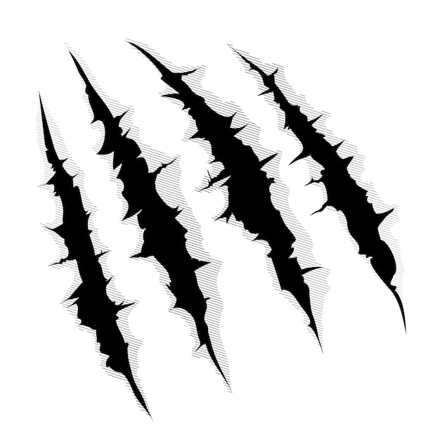 Иллюстрация когтя монстра или руки, царапины или разрывающие белый фон Бесплатные векторы