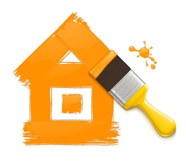 집 그리기 페인트 브러시의 그림입니다. 프리미엄 벡터