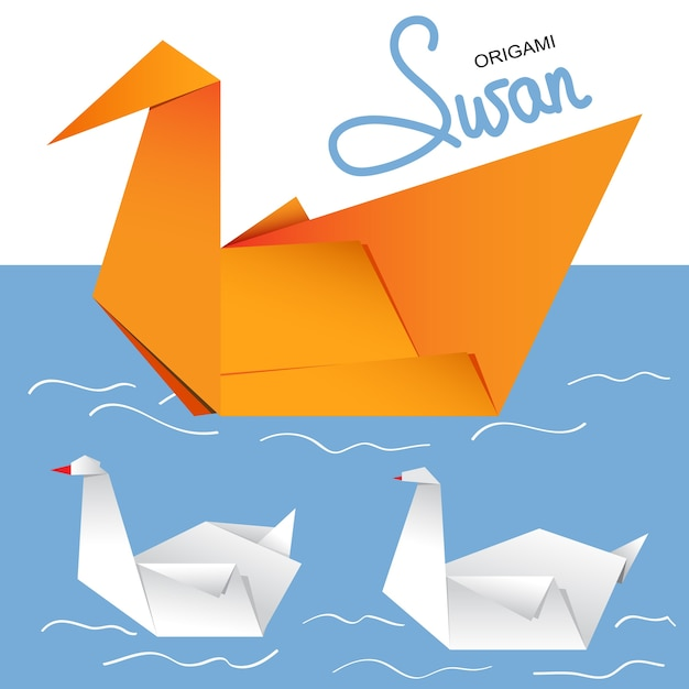 Illustration Of A Pair Of Paper Origami Swans Vector Premium Download