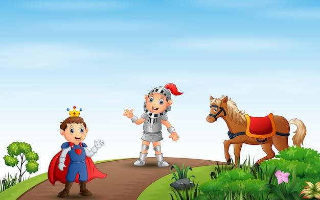 Иллюстрация принца и рыцаря, идущего по дороге Premium векторы