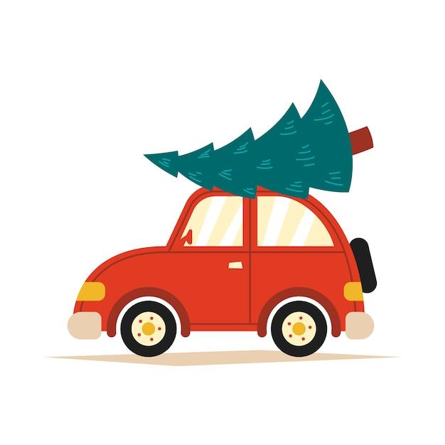 白い孤立した背景の上の屋根にクリスマスツリーと赤い車のイラスト。 Premiumベクター