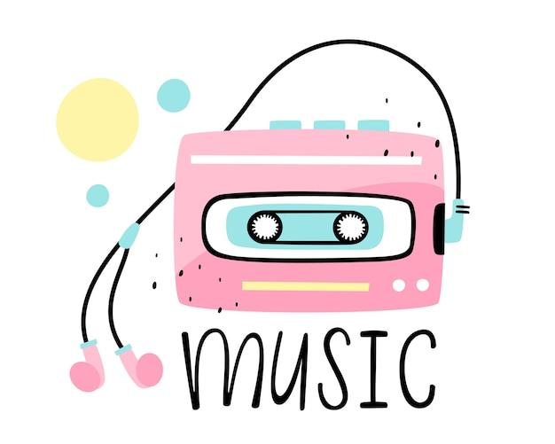 Иллюстрация ретро-плеер с наушниками и музыкальной надписью. Premium векторы