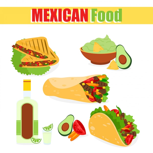 メキシコの伝統的な料理、タコス、アボカド肉のブリトー、テキーラコーン、漫画eの白い背景の上のセットのイラスト。 Premiumベクター