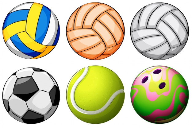 Illustration of a set of sport balls on a white\ background
