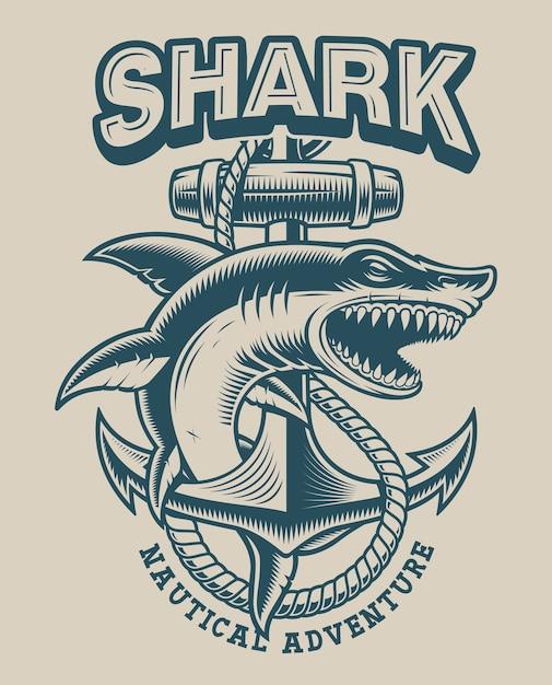 ビンテージスタイルのアンカーを持つサメのイラスト。ロゴ、シャツ、その他多くの用途に最適 Premiumベクター