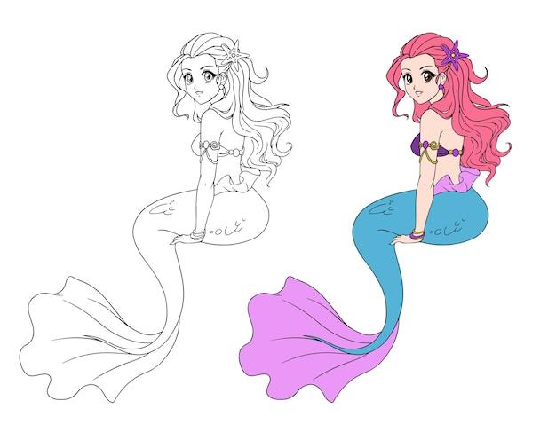 座っている人魚の女の子のイラスト。手描きのベクトルアニメイラスト。 Premiumベクター