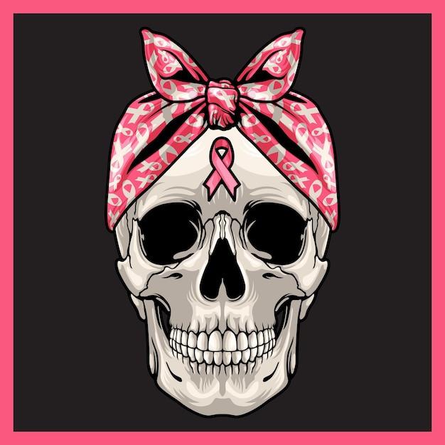 アウェアネスリボンと頭蓋骨のイラスト。 Premiumベクター