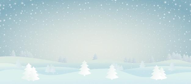 Иллюстрация зимнего пейзажа Premium векторы