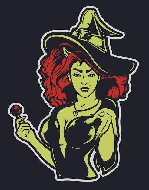 暗い背景にハロウィーンの魔女のイラスト。すべてのレイヤーは署名されています。 Premiumベクター