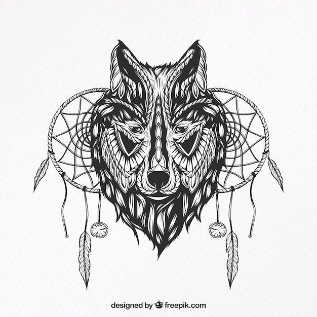 Illustration Of A Wolf With Dream Catchers Vector Free Download Stunning Wolf Head Dream Catcher
