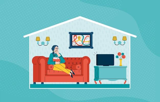 ソファに座ってテレビを見ている女性のイラスト Premiumベクター