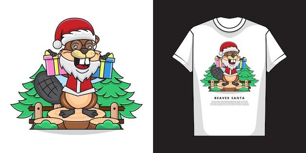 Tシャツデザインの愛らしいビーバーのイラスト Premiumベクター