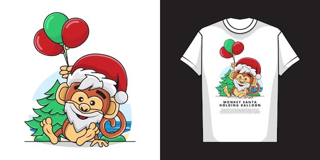 Tシャツデザインの風船を保持している愛らしい猿のイラスト Premiumベクター