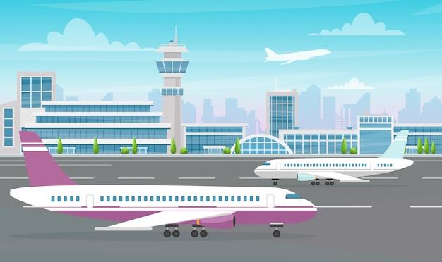 Иллюстрация здания крупного аэропорта при большой самолет и воздушные судн взлетая на современной предпосылке города. плоский мультяшный стиль. Premium векторы