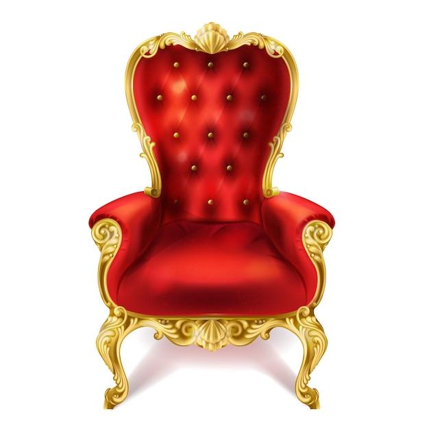 Иллюстрация древнего красного королевского трона. Бесплатные векторы