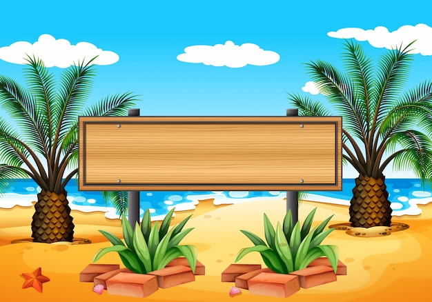 Illustration of an empty signboard at the\ beach