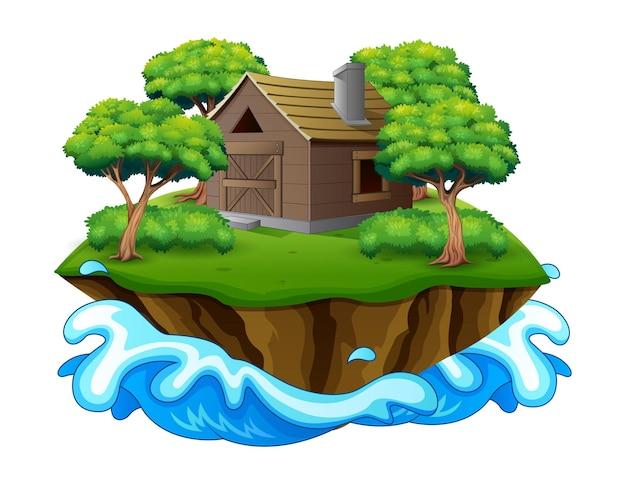 목조 주택 또는 헛간이있는 섬의 그림 프리미엄 벡터