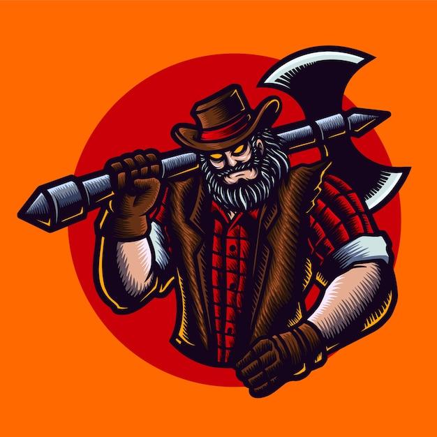 斧、帽子、ジャケットと木こりのカウボーイのイラスト。 Premiumベクター