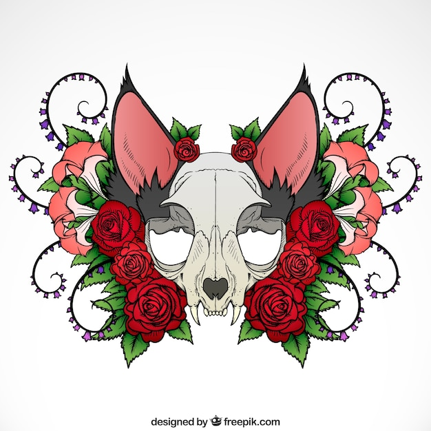 Illustration of animal skull with roses and\ ornaments