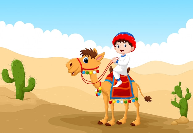Иллюстрация арабского мальчика верхом на верблюде в пустыне Premium векторы