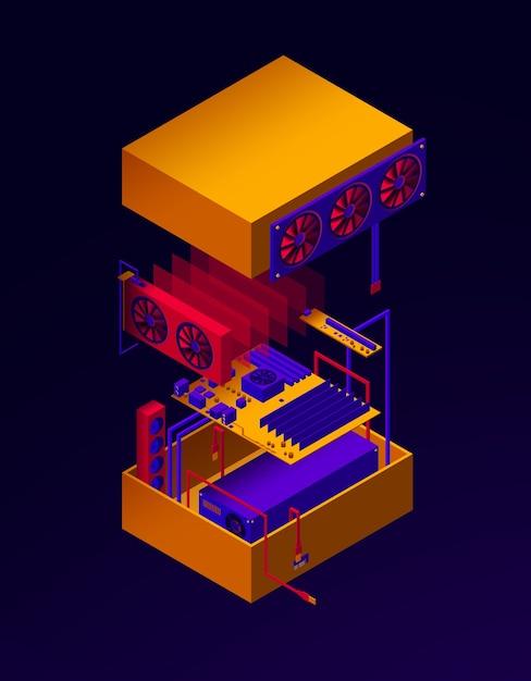 Иллюстрация сборки сервера для майнинга криптовалюты Premium векторы