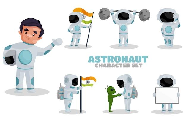 Иллюстрация набора символов космонавта Premium векторы