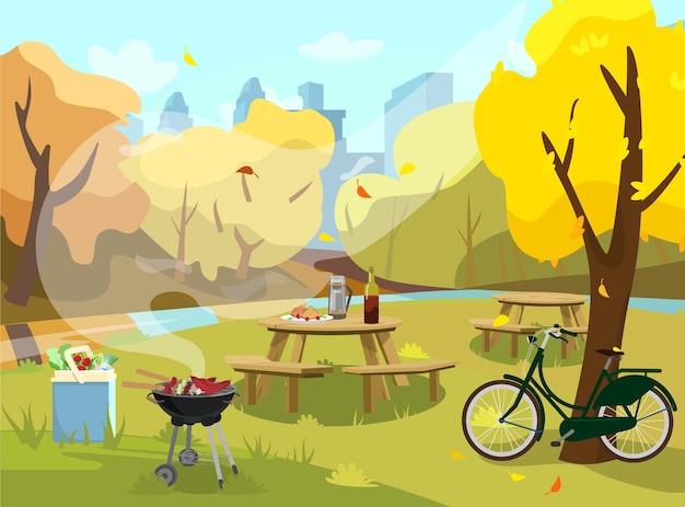 Иллюстрация осеннего пейзажа в парке. стол для пикника с бутербродами, термосом и вином. барбекю с едой и сумка-холодильник с продуктами. велосипед возле дерева. город на заднем плане. . Premium векторы