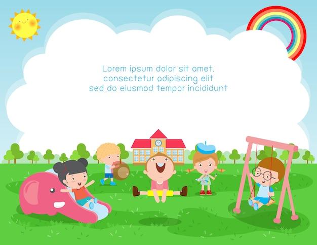 Иллюстрация концепции школьного образования, дети играют на улице Premium векторы