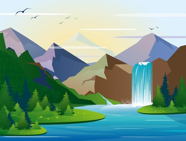 木、岩、空と山の風景の中の美しい滝のイラスト。野生の自然、湖、ブッシュの紅葉がフラットスタイルの緑の木。 Premiumベクター