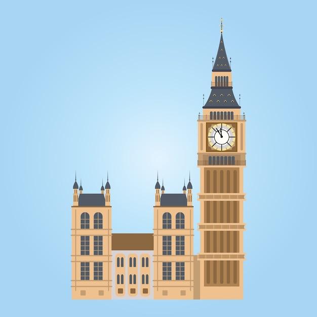 Иллюстрация башни биг-бен в лондоне. биг бен Premium векторы