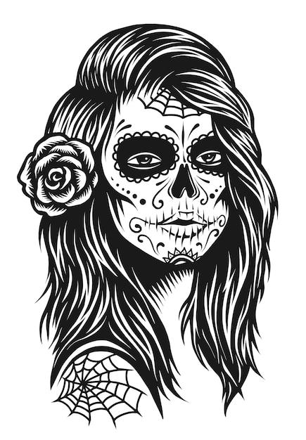 Иллюстрация черно-белая череп девушка с розой в волосах Premium векторы