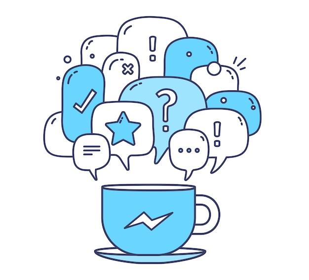 アイコンと白い背景の上のコーヒーカップと青い色ダイアログ吹き出しのイラスト。通信技術 Premiumベクター