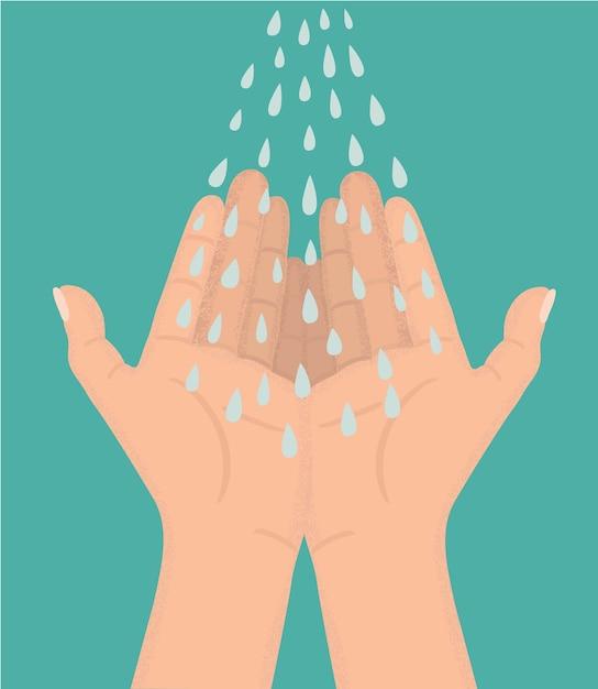 青い水滴のイラストが開いた手に滴り落ちる Premiumベクター