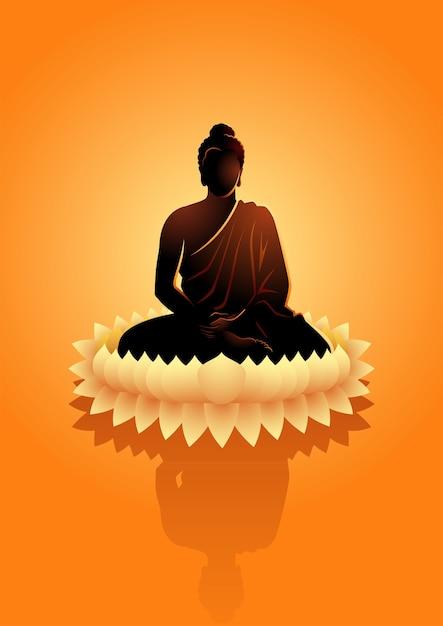 Иллюстрация будды, медитирующей на цветок лотоса воды Premium векторы